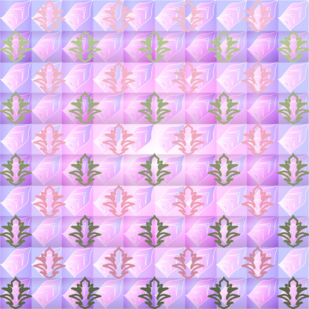 ilustration and painting: purple and green floral pattern on a plaid background