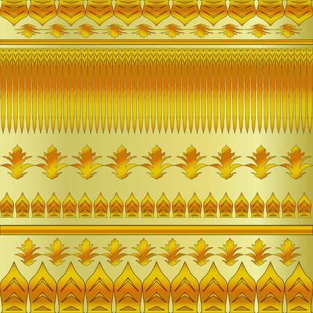 ilustration and painting: gold floral pattern on a yellow background Illustration