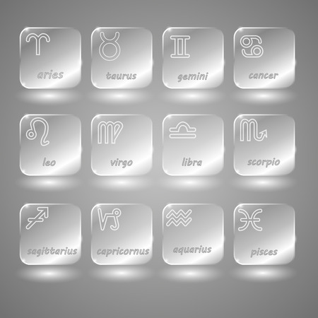 aciculum: glass buttons zodiac on a gray and white background Illustration