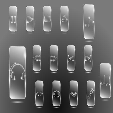 botones musica: Botones de m�sica de cristal sobre un fondo gris