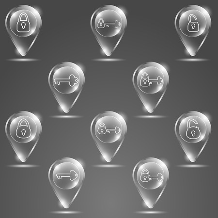 option key: glass button keys and lock on gray background