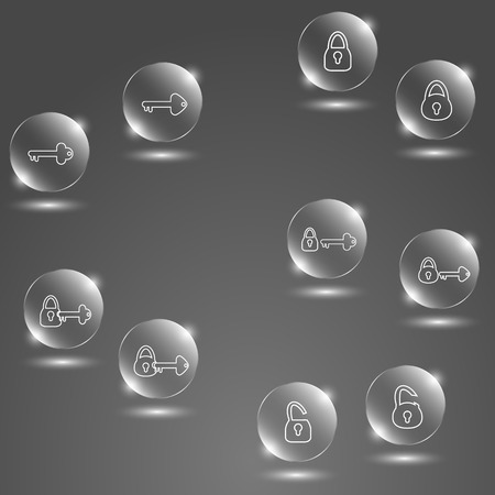 hearing protection: glass button keys and lock on gray background
