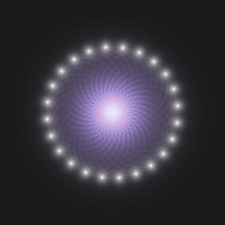 luminous mandala on a black background with stars