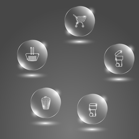 reflexion: Glass buttons baskets on a gray background