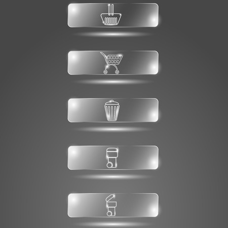 glass buttons: Glass buttons baskets on a gray background
