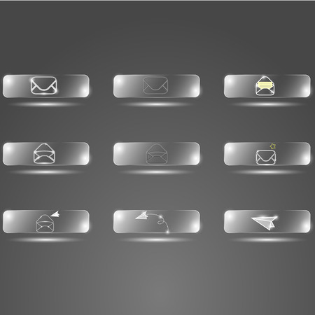sender: envelope glass buttons on a gray background Illustration
