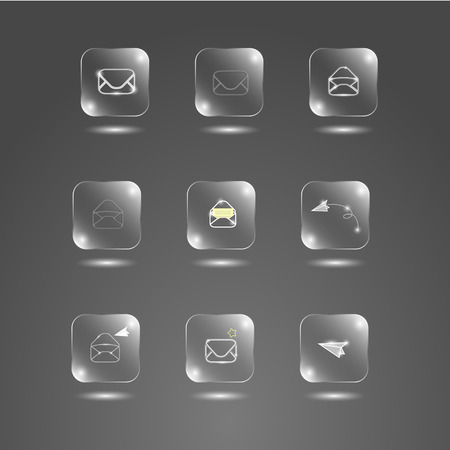 glass buttons: envelope glass buttons on a gray background Illustration