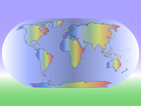 made in china: colored world map on a luminous background