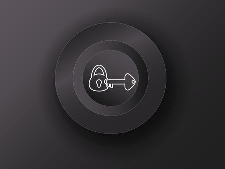 hearing protection: luminous button on the gray background Illustration