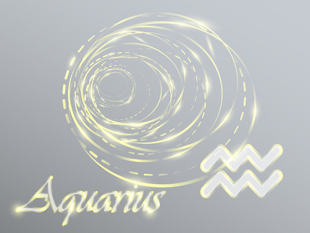 Gold zodiac sign with golden spirals on a gray background Ilustração