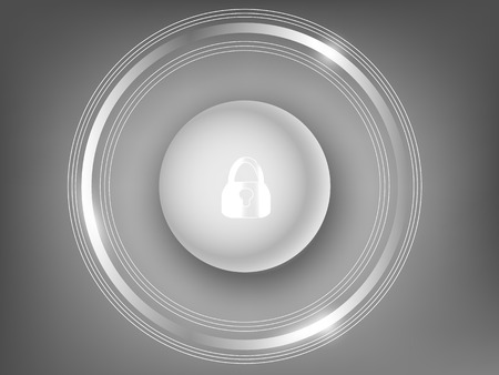 hearing protection: 3d white button on a gray background