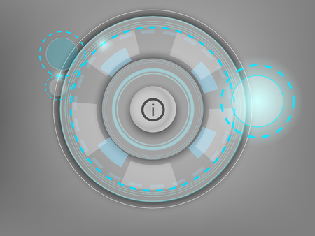 rec: White button with an abstract interface on a gray background Illustration