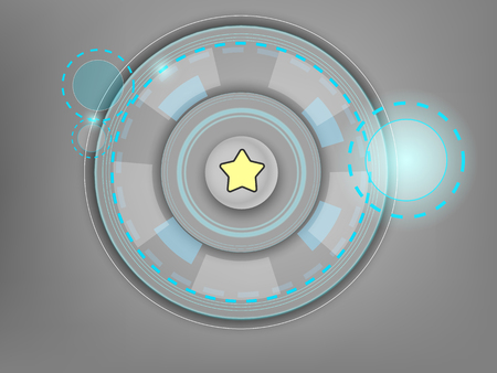 White button with an abstract interface on a gray background Illustration