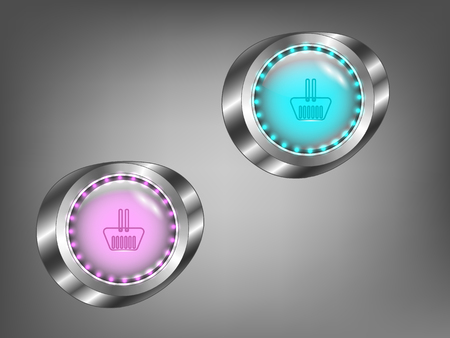 glass buttons: glowing colored glass buttons on a gray background Illustration