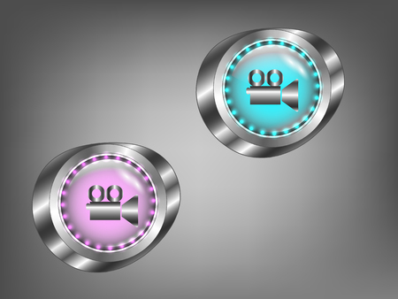 glowing colored glass buttons on a gray background Illustration