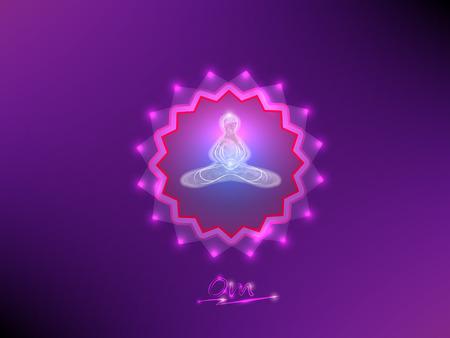 buddist: Buddha in meditation on a background of the mandala