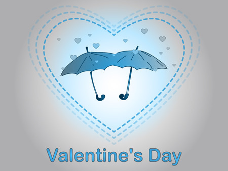 Valentine's Day. Love and romance. A rain of heart. Umbrella for two.