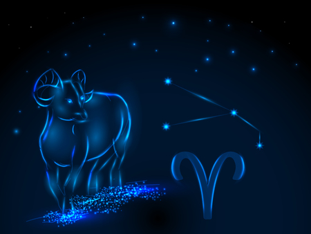 Zodiac sign on the starry sky. Astrological symbol. Zodiac circle on a blue background. Stars. Circle of Life. Stock Illustratie