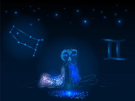Zodiac sign on the starry sky. Astrological symbol. Zodiac circle on a blue background. Stars. Circle of Life. Çizim