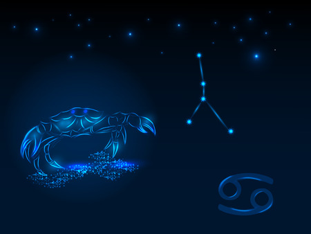 Zodiac sign on the starry sky. Astrological symbol. Zodiac circle on a blue background. Stars. Circle of Life. Illustration