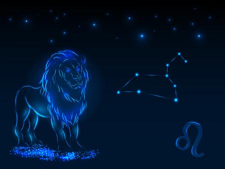Signo del zodiaco en el cielo estrellado. Símbolo astrológico Círculo del zodiaco en un fondo azul. Estrellas. Círculo de la vida.