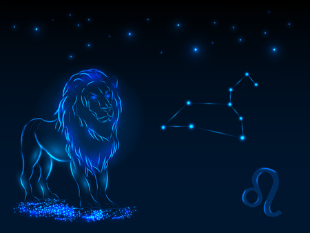 Zodiac sign on the starry sky. Astrological symbol. Zodiac circle on a blue background. Stars. Circle of Life. Vectores