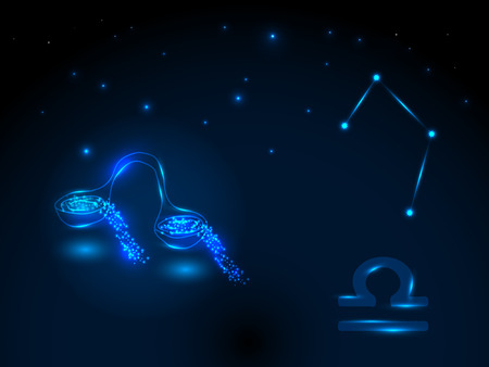 Zodiac sign on the starry sky. Astrological symbol. Zodiac circle on a blue background. Stars. Circle of Life. Vettoriali