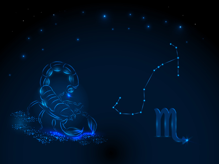 Signo del zodiaco en el cielo estrellado. Símbolo astrológico Círculo del zodiaco en un fondo azul. Estrellas. Círculo de la vida. Ilustración de vector