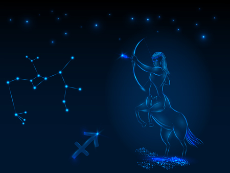 Zodiac sign on the starry sky. Astrological symbol. Zodiac circle on a blue background. Stars. Circle of Life. Ilustrace