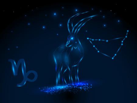 Zodiac sign on the starry sky. Astrological symbol. Zodiac circle on a blue background. Stars. Circle of Life. Ilustracja