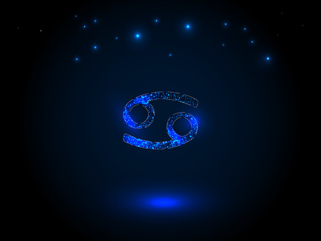 Astrological symbol in blue on a starry sky background.