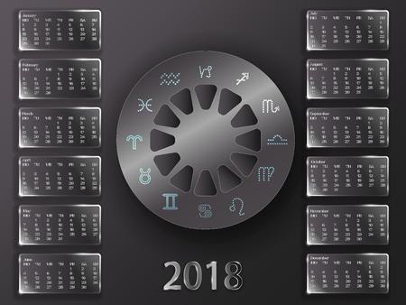Calendario per 2018 anni. Calendario astrologico su uno sfondo grigio. Calendario e segni dello zodiaco. Archivio Fotografico - 89265839