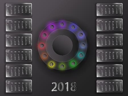 Calendario per 2018 anni. Calendario astrologico su uno sfondo grigio. Calendario e segni dello zodiaco. Archivio Fotografico - 89265846