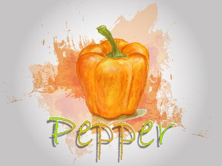 Pepper watercolor vector food illustration.Hand painted watercolor illustration. Vettoriali