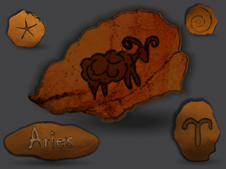 Zodiacal constellation in the form of cave painting, drawings on the rocks.