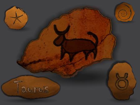 Disegni di concetto di Toro oroscopo sulle rocce. Archivio Fotografico - 95429076