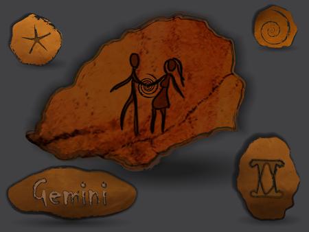 Costellazione zodiacale sotto forma di pittura rupestre, disegni sulle rocce. Archivio Fotografico - 95457618