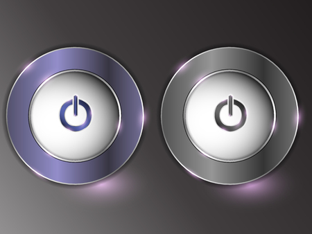 3d silver button on gray background, set of buttons. The button are on and off.