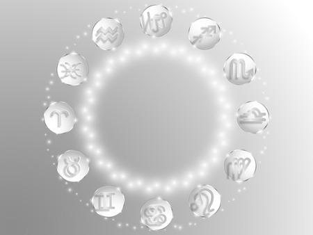 Zodiac sign . Astrological symbol. Zodiac circle on a white  background. Stars. Circle of Life. Vettoriali