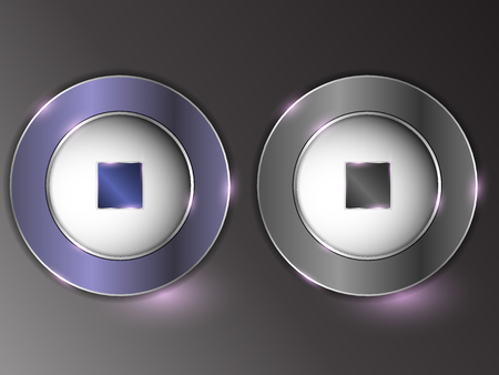 3d silver button on gray background.Set of buttons. The button is on and off. Archivio Fotografico - 103669660