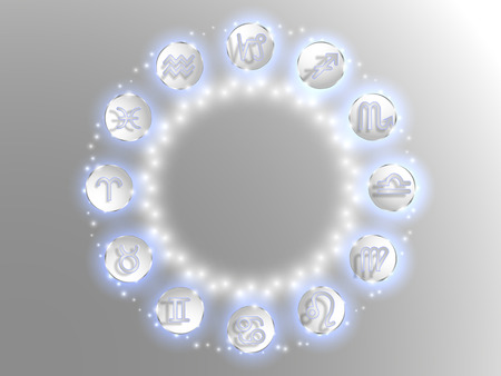 Zodiac sign . Astrological symbol. Zodiac circle on a white  background. Stars. Circle of Life. Archivio Fotografico - 103610199