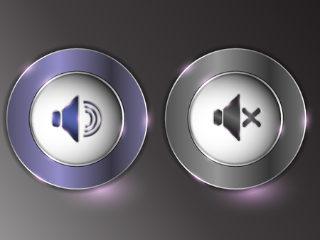 3d silver button on gray background.Set of buttons. The button is on and off. Archivio Fotografico - 103669662