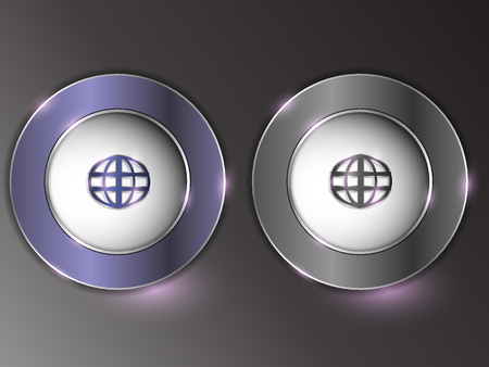 3d silver button on gray background.Set of buttons. The button is on and off. Archivio Fotografico - 103610207