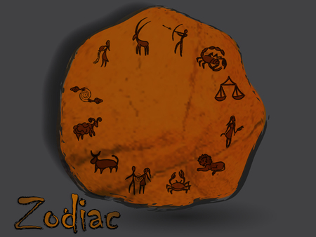 Zodiacal constellation in the form of cave painting, drawings on the rocks. Archivio Fotografico - 103610247