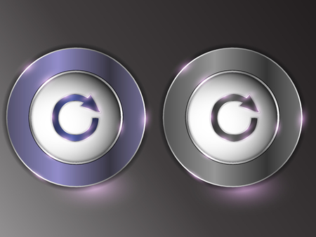 3d silver button on gray background.Set of buttons. The button is on and off. Archivio Fotografico - 103669664