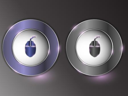 Tasto d'argento 3d su priorità bassa grigia. Insieme dei tasti. Il pulsante è acceso e spento. Archivio Fotografico - 96823981
