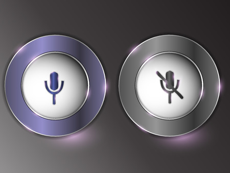 3d silver button on gray background. Illustration