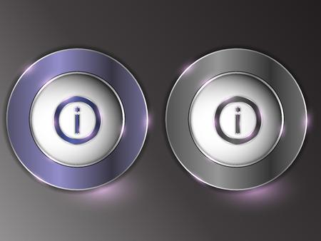 Bottone d'argento 3d su fondo grigio. Archivio Fotografico - 96844901