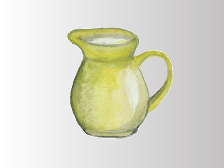 Yellow clay jug with milk on a white background Archivio Fotografico - 101080713