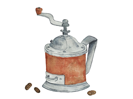 Ancient coffee grinder with coffee beans on a white background. Archivio Fotografico - 101053917